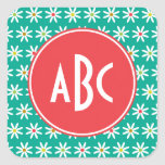 Monogrammed Daisy Dots Square Sticker