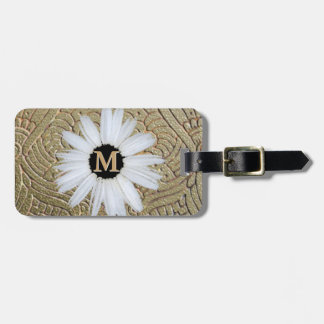 Monogrammed Daisy   Elegant Gold Girly Boho Bag Tag