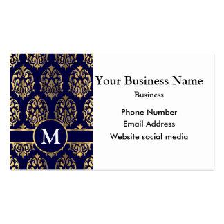 Monogrammed dark blue and gold damask pack of standard business cards