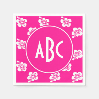 Monogrammed Deep Pink and White Hawaiian Pattern Paper Serviettes