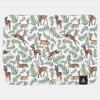 Monogrammed Deer Swaddle Blanket