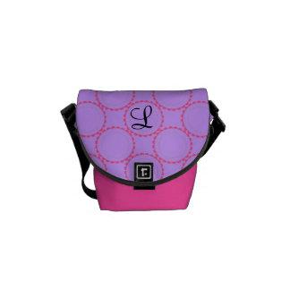 Monogrammed designer pink purple black bag commuter bag