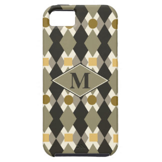 Monogrammed earth tones retro style pattern iPhone 5 case