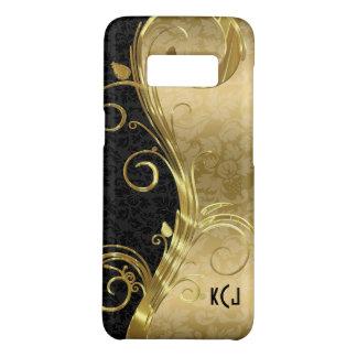 Monogrammed Elegant Black Damasks Gold Swirls Case-Mate Samsung Galaxy S8 Case
