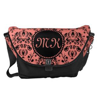 Monogrammed Elegant Black Girly Damask Coral Pink Courier Bag