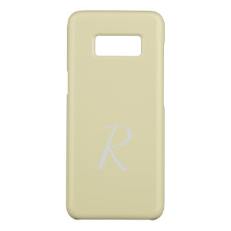 Monogrammed Elegant Soft Pale Yellow Case