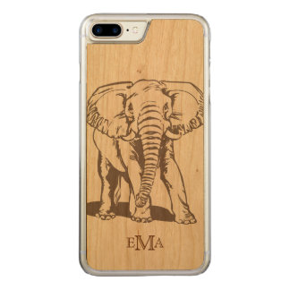 Monogrammed Elephant Line Drawing Carved iPhone 8 Plus/7 Plus Case