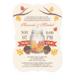 Monogrammed Fall Leaves Mason Jar Engagement Party 13 Cm X 18 Cm Invitation Card