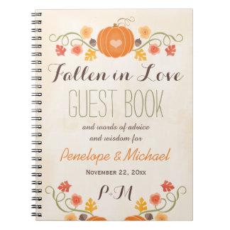 Monogrammed Fall Pumpkin Acorn Wedding Guest Boook Spiral Note Books