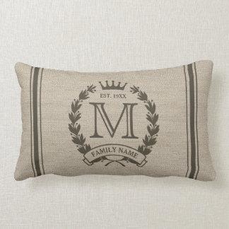 Monogrammed Family Logo Burlap Look Lumbar Pillow Cushions