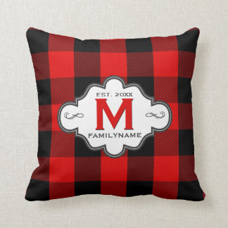 Monogrammed Family Logo Red Lumberjack Plaid Cushion