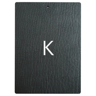 Monogrammed Faux Black Leather Texture Clipboard