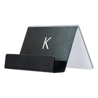 Monogrammed Faux Black Leather Texture Desk Business Card Holder