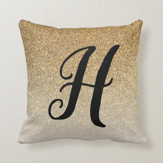 Monogrammed Faux Glitter Gold Ombre | Throw Pillow
