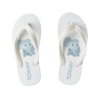 Monogrammed Faux Quilted Blue Elephant Kid's Thongs