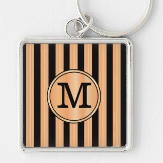 Monogrammed faux red birch and ebony stripes key chain