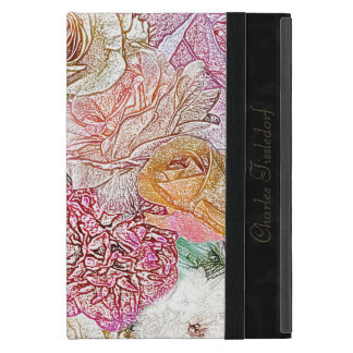 Monogrammed Field of Roses in Color Pencil Case For iPad Mini