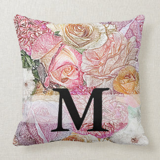 Monogrammed Field of Roses in Color Pencil Cushion