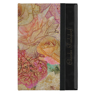 Monogrammed Field of Roses in Color Pencil w/ Gold Case For iPad Mini