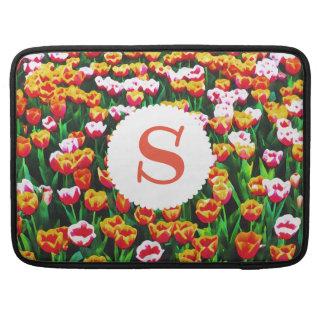 Monogrammed Field of Tulips MacBook Sleeve