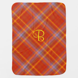 Monogrammed Fiery Plaid Swaddle Blankets