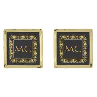 Monogrammed Filigree Square Gold Cuff Links Gold Finish Cuff Links