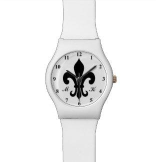 Monogrammed fleur de lil watch | Black and white