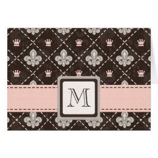 Monogrammed Fleur de Lis Note Cards Pink and Brown