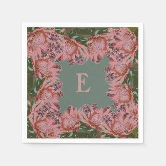 Monogrammed, floral, customisable napkins. paper napkin