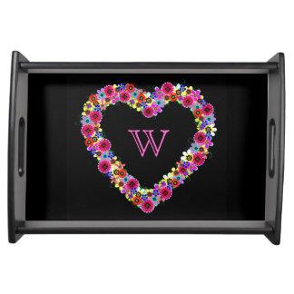 Monogrammed Floral Heart in Black Serving Trays