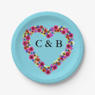 Monogrammed Floral Heart in Light Blue 7 Inch Paper Plate