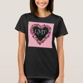 Monogrammed Floral Heart in Pink & Black T-Shirt