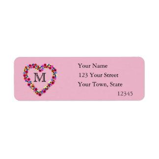 Monogrammed Floral Heart in Pink Return Address Label