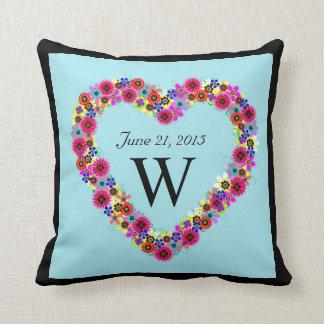 Monogrammed Floral Heart Wedding Date Pillows