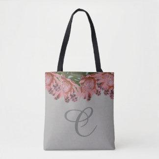 Monogrammed floral tote bag