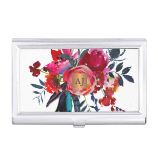 Monogrammed floral watercolor glam copper square business card holder