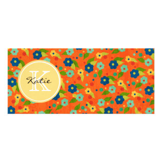 Monogrammed Flower Rack Card Template