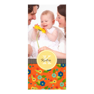 Monogrammed Flower Personalized Rack Card
