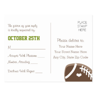 Monogrammed Football Wedding RSVP Postcard