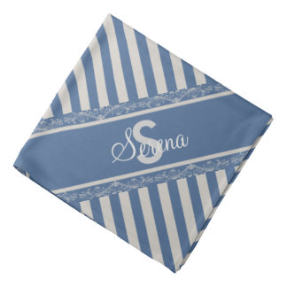 Monogrammed French Blue Gray Striped Bandanna