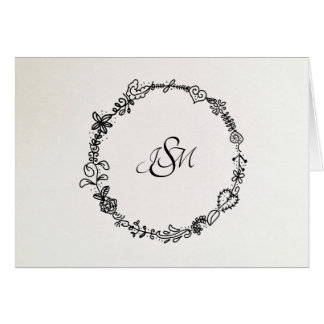 Monogrammed French Wreath Note Cards