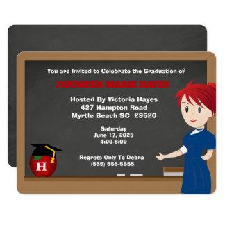 Monogrammed Fun Teacher Graduation Invitation