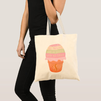 Monogrammed Funny Ice Cream Quote Tote