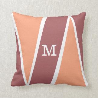 Monogrammed Geometric Pattern Orange Marsala Cushion