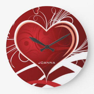 Monogrammed Girly Red & White Abstract Heart Large Clock