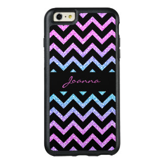 Monogrammed Glitter And Black Chevron OtterBox iPhone 6/6s Plus Case