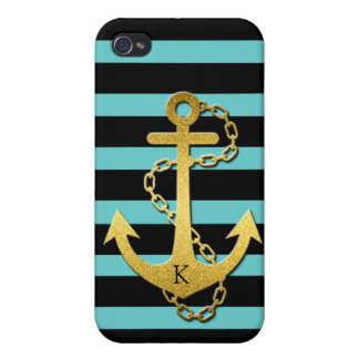 Monogrammed Gold Anchor with teal & black stripes iPhone 4/4S Covers