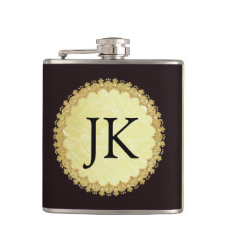 Monogrammed Gold and Black Flask