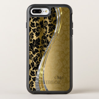 Monogrammed Gold And Black Floral Damask Pattern OtterBox Symmetry iPhone 8 Plus/7 Plus Case