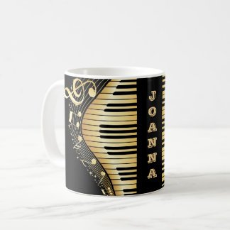 Monogrammed Gold And Black Musical Notes And Key Coffee Mug